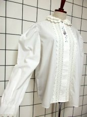 画像4: 刺繍 ダブルレース襟 ホワイト チロルブラウス ドイツ民族衣装 舞台 演奏会 フォークダンス オクトーバーフェスト 【6670】  (4)