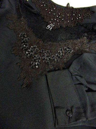 画像3: お花刺繍カットワークレース スパンコール ビーズ ブラック レトロクラシカル ヨーロッパ古着 長袖 ヴィンテージブラウス【6669】