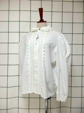 画像2: 刺繍 ダブルレース襟 ホワイト チロルブラウス ドイツ民族衣装 舞台 演奏会 フォークダンス オクトーバーフェスト 【6670】  (2)