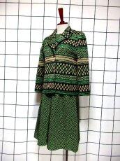 画像2: ジャケット&ワンピース 70年代 グリーン レトロセットアップ 昭和レトロ 国産古着 【6692】 (2)