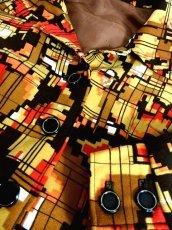 画像14: 70年代 スカーフ柄 マルチカラー レトロ レディース 長袖 昭和レトロ 国産古着 レトロワンピース 【6701】 (14)