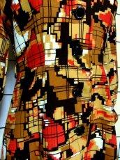 画像11: 70年代 スカーフ柄 マルチカラー レトロ レディース 長袖 昭和レトロ 国産古着 レトロワンピース 【6701】 (11)