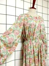 画像4: 総花柄 クラシカル ウエストゴム レトロ 長袖 ヨーロッパ古着 ヴィンテージドレス【6718】 (4)