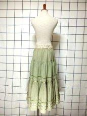 画像5: 花刺繍 グリーン リボンテープ コットン レトロ ヨーロッパ古着 ヴィンテージサーキュラースカート【6731】 (5)