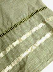 画像12: 花刺繍 グリーン リボンテープ コットン レトロ ヨーロッパ古着 ヴィンテージサーキュラースカート【6731】 (12)