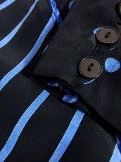 画像16: ドット柄 ボーダー柄 ブラック 黒 ブルー レトロ 長袖 ヨーロッパ古着 ヴィンテージドレス 【6747】 (16)