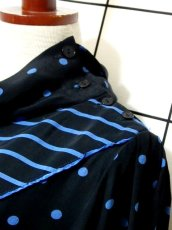 画像11: ドット柄 ボーダー柄 ブラック 黒 ブルー レトロ 長袖 ヨーロッパ古着 ヴィンテージドレス 【6747】 (11)