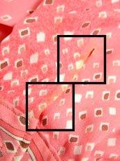 画像18: プリーツ 首元リボン付 バックル付ベルトセット スクエア柄 ピンク 長袖 昭和レトロ 国産古着 ヴィンテージワンピース【6763】 (18)