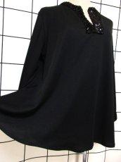 画像11: スパンコール ブラック 黒 レトロクラシカル ヨーロッパ古着 長袖 ヴィンテージトップス【6784】 (11)
