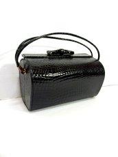 画像1: ブラック 黒 カタチが可愛らしい レディース ヴィンテージ レトロ 鞄 バッグ【6797】 (1)