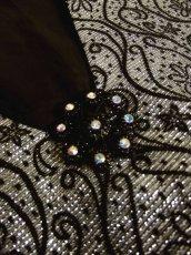 画像11: 花模様織り 胸元ビジュー装飾 シルバー ブラック 衣装にもおすすめ ノースリーブ レトロ ヨーロッパ古着 ヴィンテージドレス【4967】 (11)