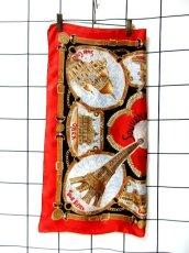 画像3: レトロアンティーク ヴィンテージスカーフ イタリア製 レッド【6843】 (3)