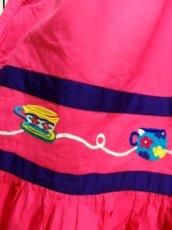 画像14: インド製 コットン ティーカップ刺繍 ピンク ふんわり 半袖 レトロ フォークロア ガーリー ヴィンテージドレス【6007】 (14)
