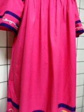 画像11: インド製 コットン ティーカップ刺繍 ピンク ふんわり 半袖 レトロ フォークロア ガーリー ヴィンテージドレス【6007】 (11)