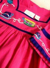 画像16: インド製 コットン ティーカップ刺繍 ピンク ふんわり 半袖 レトロ フォークロア ガーリー ヴィンテージドレス【6007】 (16)