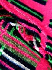 画像17: 斜めチェック柄 ビビット配色 ピンク グリーン ネイビー レッド ホワイト レトロ ヨーロッパ古着 ヴィンテージワンピース【6077】 (17)