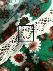 画像16: 花柄 レース グリーン フロントリボン 半袖 レトロ ガーリー ヨーロッパ古着 ヴィンテージワンピース【6478】 (16)