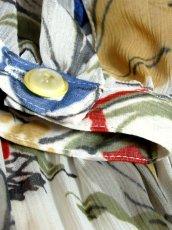 画像20: 花柄 アート調 フリル リボン ベルト付 70's レトロ レディース 半袖 昭和レトロ 国産古着  レトロワンピース【6871】 (20)
