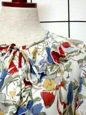 画像9: 花柄 アート調 フリル リボン ベルト付 70's レトロ レディース 半袖 昭和レトロ 国産古着  レトロワンピース【6871】 (9)