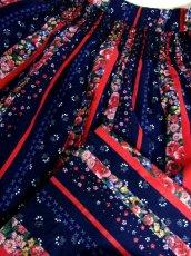 画像9: 花柄 ストライプ ネイビー ウエストゴム レッド ガーリー ディアンドル チロルスカート ドイツ民族衣装 舞台 演劇 演奏会 フォークダンス オクトーバーフェスト 【Y6876】 (9)