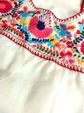 画像14: メキシカン花刺繍 鳥刺繍 ホワイト カラフルステッチ 半袖 フォークロア レトロ USA古着 ヴィンテージ刺繍ブラウス【6873】 (14)
