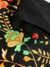 画像18: 70年代 花柄 ブラック ウエストゴム ヴィンテージ  半袖  昭和レトロ 国産古着 レトロワンピース 【6889】 (18)