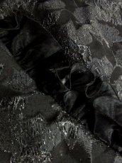 画像16: 花模様織り フリル装飾 ブラック 結婚式やパーティースタイルにも クラシカル 半袖 レトロ ガーリー ヨーロッパ古着 ヴィンテージドレス【5965】 (16)