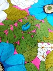 画像16: 70年代 サイケ  ポップ 花柄 ボタニカル ブルー 衣装やパーティースタイルにもおすすめ 長袖 レトロ 衣装にも ヨーロッパ古着 ヴィンテージロングドレス 【7024】 (16)