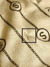 画像18: 英字柄 ストライプ 70年代 ベージュ ブラウン バイカラー ウエストゴム ヴィンテージ 長袖 昭和レトロ 国産古着 レトロワンピース 【7023】 (18)