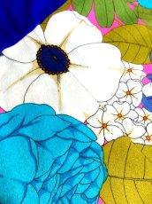 画像13: 70年代 サイケ  ポップ 花柄 ボタニカル ブルー 衣装やパーティースタイルにもおすすめ 長袖 レトロ 衣装にも ヨーロッパ古着 ヴィンテージロングドレス 【7024】 (13)