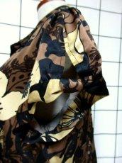 画像11: レトロモダン 花柄 ブラウン ブラック ベージュ レトロ 半袖 USA古着 ヴィンテージワンピース【7030】 (11)
