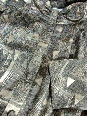 画像17: 幾何学模様織り 西ドイツ製 グレー ドルマンスリーブ ハイネック ウエストリボン 長袖 レトロ ヨーロッパ古着 ヴィンテージオールインワン【7047】 (17)