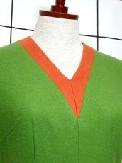 画像3: デンマーク製 ウール グリーン オレンジ バイカラー 半袖 レトロ ヨーロッパ古着 ヴィンテージワンピース【7051】 (3)