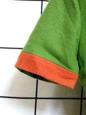画像4: デンマーク製 ウール グリーン オレンジ バイカラー 半袖 レトロ ヨーロッパ古着 ヴィンテージワンピース【7051】 (4)