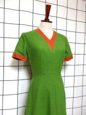 画像7: デンマーク製 ウール グリーン オレンジ バイカラー 半袖 レトロ ヨーロッパ古着 ヴィンテージワンピース【7051】 (7)
