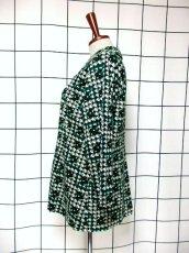 画像6: 幾何学柄 グリーン ホワイト ブラック 70's 昭和レトロ 国産古着 ヴィンテージジャケット【7061】 (6)