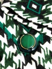 画像13: 幾何学柄 グリーン ホワイト ブラック 70's 昭和レトロ 国産古着 ヴィンテージジャケット【7061】 (13)