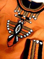 画像12: フォークロア 刺繍 ビーズ 切り替えし 長袖 レトロ ヨーロッパ古着 ヴィンテージワンピース【7067】 (12)
