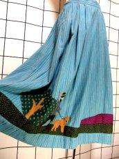 画像4: パッチワークデザイン ストライプ ドット 犬 人物 ウエストゴム ディアンドル チロルスカート ドイツ民族衣装 舞台 演劇 演奏会 フォークダンス オクトーバーフェスト 【7068】 (4)