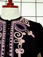 画像9: フォークロア 刺繍 ブラック 長袖 レトロ ヨーロッパ古着 ヴィンテージワンピース【7080】 (9)