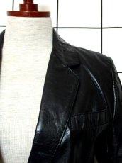 画像8: レザー ブラック 黒 昭和レトロ 国産古着 ヴィンテージジャケット【615】 (8)