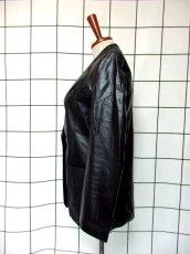 画像6: レザー ブラック 黒 昭和レトロ 国産古着 ヴィンテージジャケット【615】 (6)