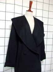 画像7: 大きな襟 ブラック 80〜90's レトロ 国産古着 ヴィンテージコート【7107】 (7)