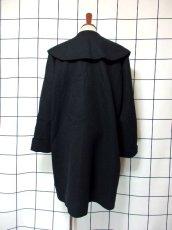 画像5: 大きな襟 ブラック 80〜90's レトロ 国産古着 ヴィンテージコート【7107】 (5)