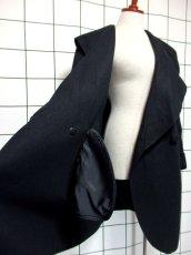 画像10: 大きな襟 ブラック 80〜90's レトロ 国産古着 ヴィンテージコート【7107】 (10)