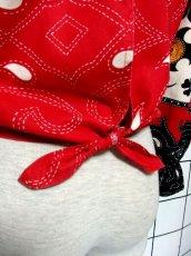 画像6: 大きなフリル襟 レッド ホワイト フォークロア レトロ ヨーロッパ古着 ヴィンテージブラウス【2783】 (6)