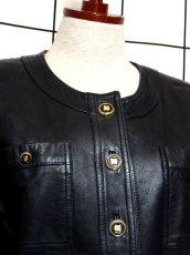 画像3: 本革レザー ブラック ノーカラー レトロ ヨーロッパ古着 ヴィンテージジャケット【2824】 (3)