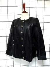 画像2: 本革レザー ブラック ノーカラー レトロ ヨーロッパ古着 ヴィンテージジャケット【2824】 (2)