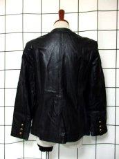 画像5: 本革レザー ブラック ノーカラー レトロ ヨーロッパ古着 ヴィンテージジャケット【2824】 (5)