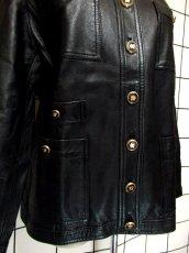 画像10: 本革レザー ブラック ノーカラー レトロ ヨーロッパ古着 ヴィンテージジャケット【2824】 (10)